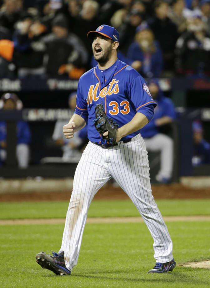 New York Mets pitcher Matt Harvey reacts after getting Chicago Cubs' Tommy La Stella to strike out during the seventh inning of Game 1 of the National League baseball championship series Saturday, Oct. 17, 2015, in New York. (AP Photo/David J. Phillip)