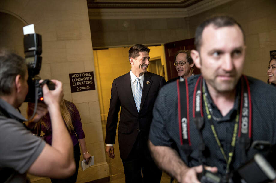 Rep. Paul Ryan, R- Wis., leaves his office before a House GOP meeting, Tuesday, Oct. 20, 2015, on Capitol Hill in Washington. (AP Photo/Andrew Harnik)