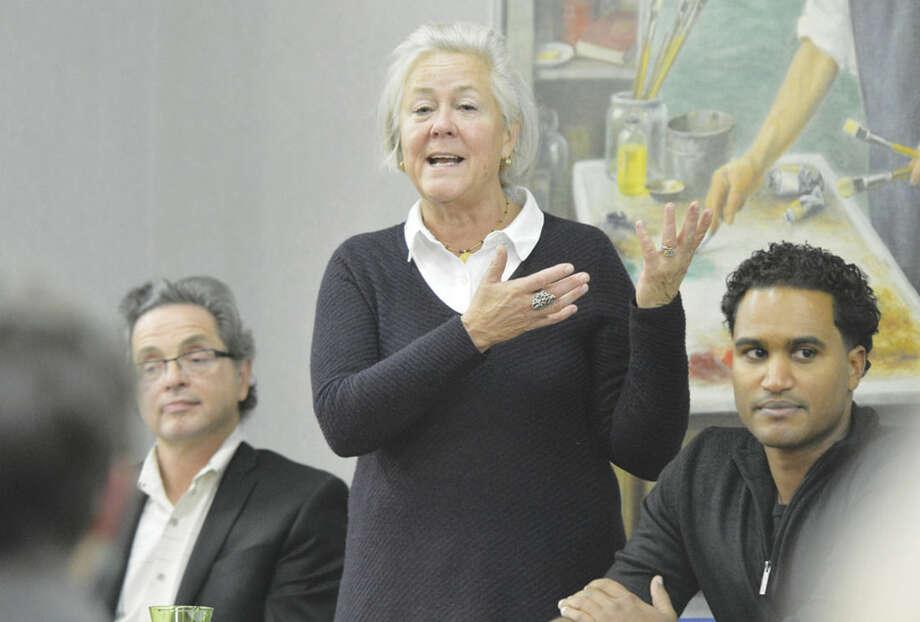 "Hour Photo/Alex von KleydorffNorwalk Arts Commission Chairman Sue Wallerstein starts a panel discussion and community conversation during ""Made in Norwalk: Recognizing Norwalk's Creative Economy"" at City Hall."