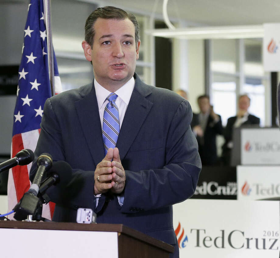 In this Oct. 26, 2015, photo, Republican presidential candidate, Sen. Ted Cruz, R-Texas, speaks at a news conference in Houston. Cruz and the other Republican presidential candidates are getting ready for the third GOP debate on Oct. 28, in Boulder, Colo. (AP Photo/Pat Sullivan)