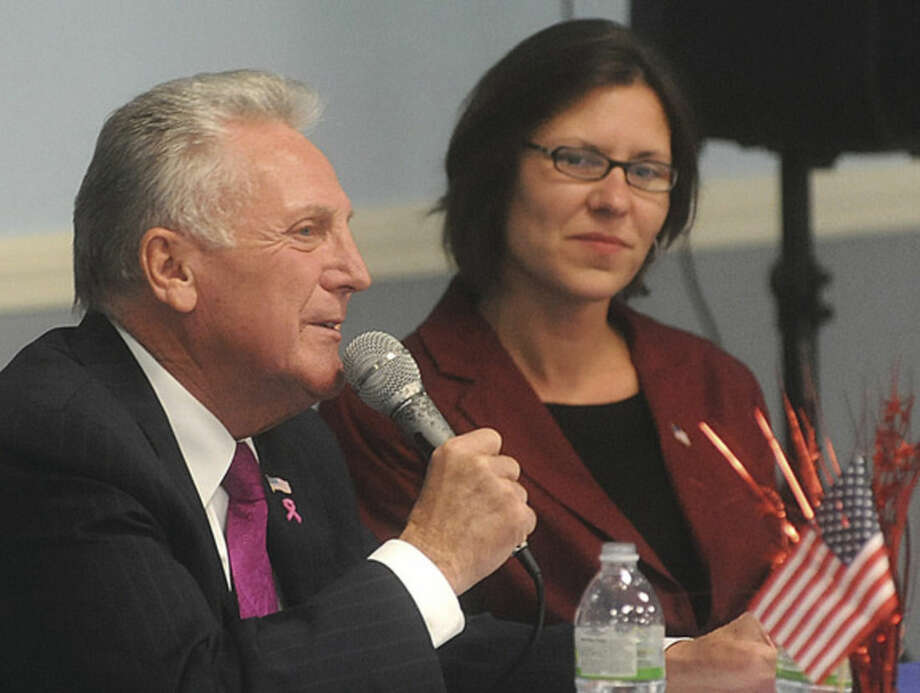 Hour photo/Matthew VinciNorwalk Mayor Harry Rilling and Republican candidate Kelly Straniti participate at the South Norwalk Community Center in its Latino/Hispanic Mayoral Debate on Monday.