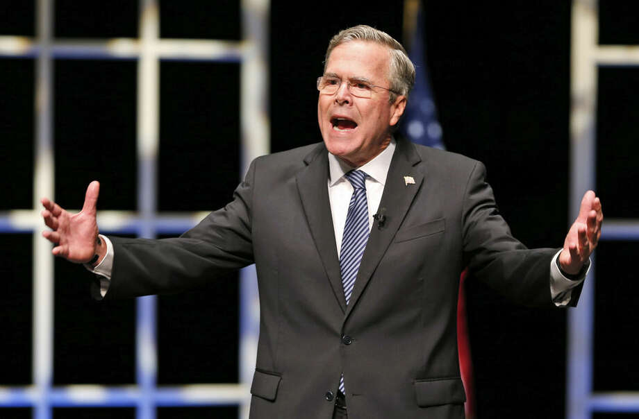 In this Oct. 23, 2015, photo, Republican presidential candidate Jeb Bush speaks during a presidential candidate forum at Regent University in Virginia Beach, Va. Bush and the other Republican presidential candidates are getting ready for the third GOP debate on Oct. 28, in Boulder, Colo. (AP Photo/Steve Helber)