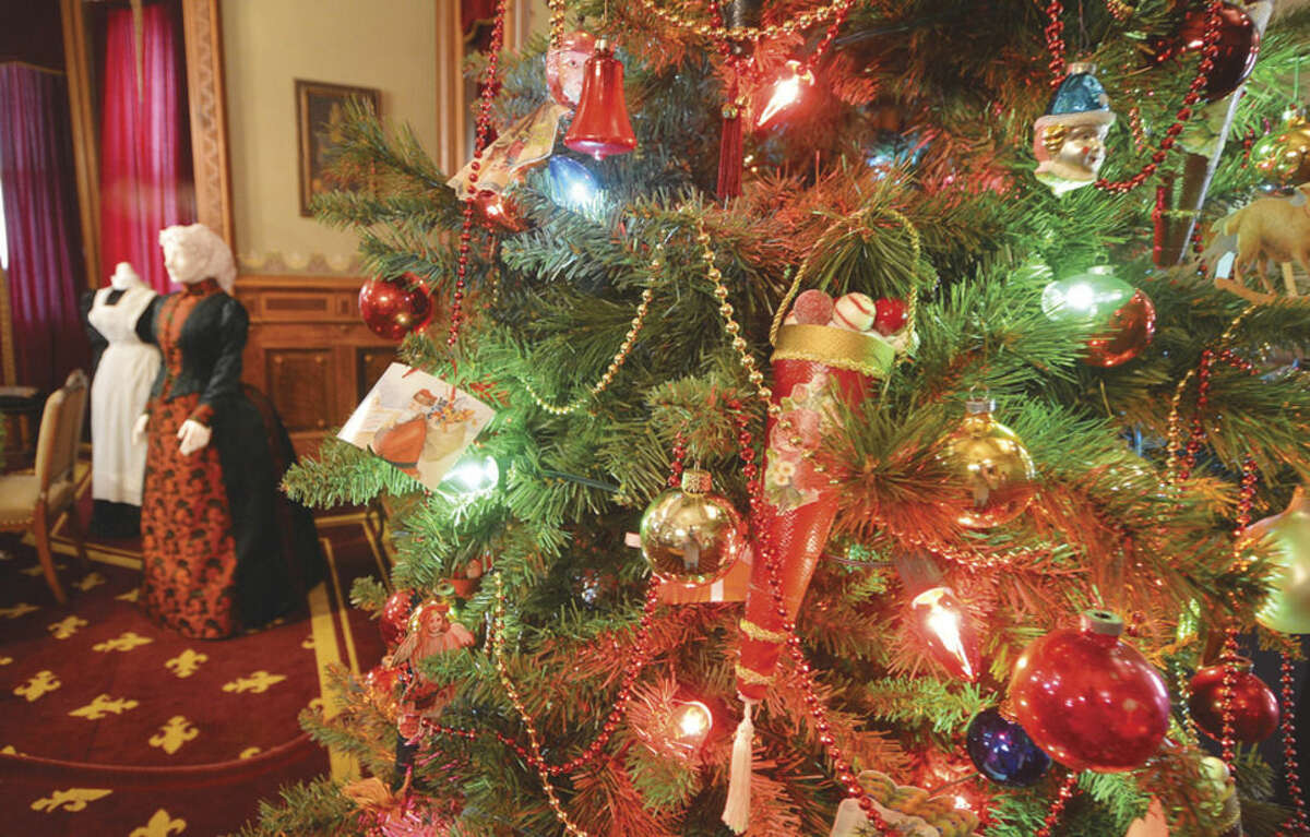 Hour Photo/Alex von Kleydorff A Christmas Tree decorated for the new exhibit, Holiday Grandeur: The Mansion's toys and trains story at Lockwood Mathews Mansion Museum