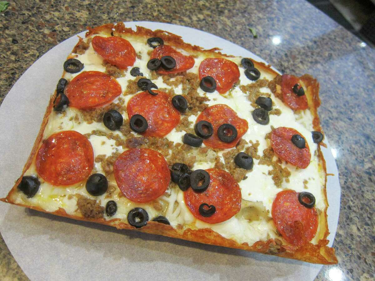 Detroit-style test pizza with pepperoni and kalamata olives from Matt Hutchison at Pizaro's
