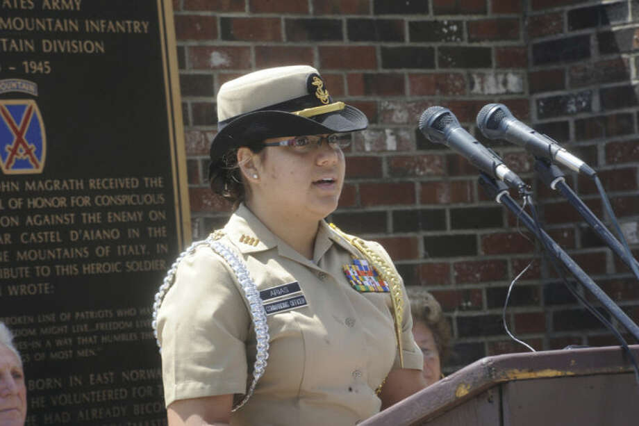Cadet Johanna Arias, Brien McMahon Navy ROTC makes remarks at the Shea-Magrath Memorial Ceremony Sunday at Calf Pasture Beach. Hour photo/Matthew Vinci