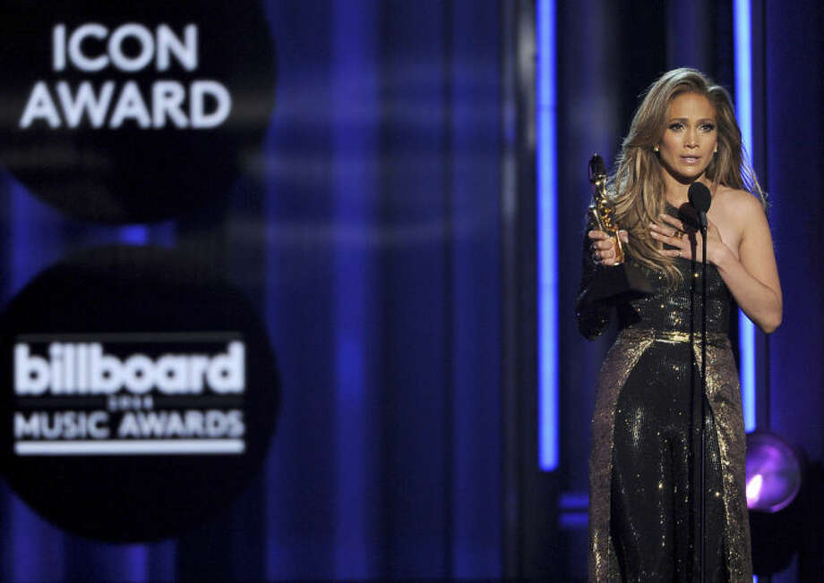Jennifer Lopez accepts the icon award at the Billboard Music Awards at the MGM Grand Garden Arena on Sunday, May 18, 2014, in Las Vegas. (Photo by Chris Pizzello/Invision/AP)
