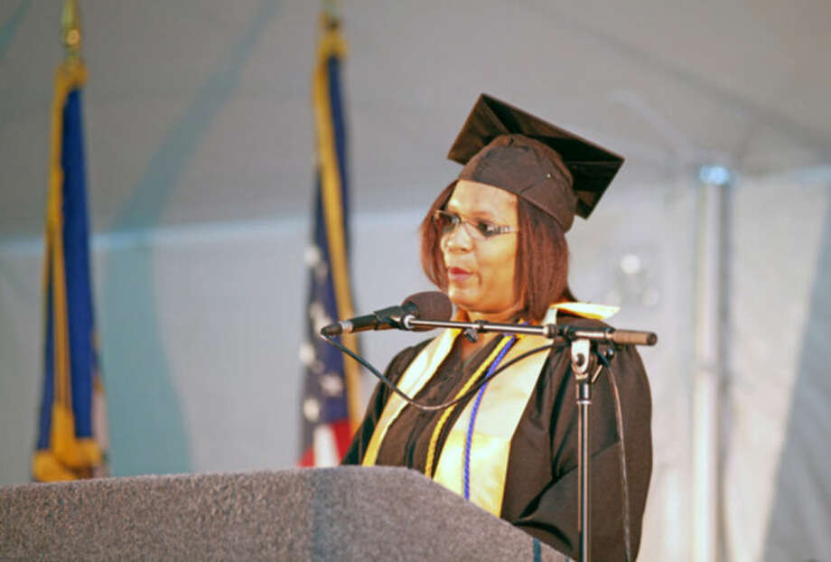 Cherdonna Epps speaks durng the 52nd Annual Commencement Excercise at Norwalk Community College Thursday afternoon.Hour Photo / Danielle Calloway