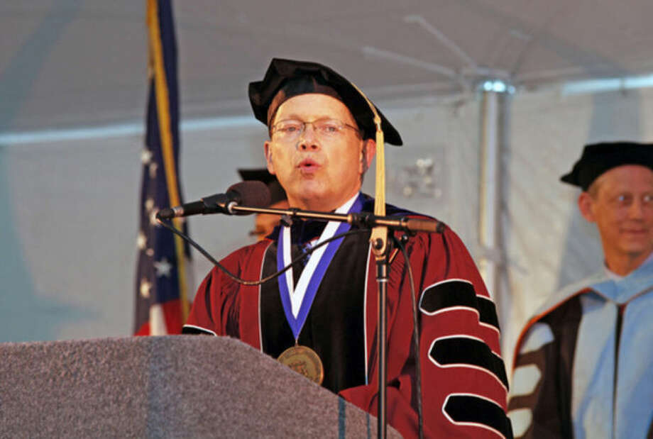 President David L. Levinson, Ph.D. speaks durng the 52nd Annual Commencement Excercise at Norwalk Community College Thursday afternoon.Hour Photo / Danielle Calloway