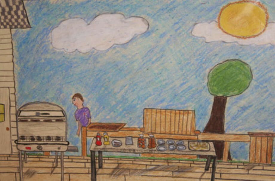 """Contributed photo""""Weekend Cookout"""" by Cate McCabe, 12, of Middlebrook School in Wilton is one of 141 works displayed in the 18th International Children's Art Show, themed """"Food for Thought,"""" open now through Sept. 1 in The Maritime Aquarium at Norwalk's IMAX Theater lobby."""