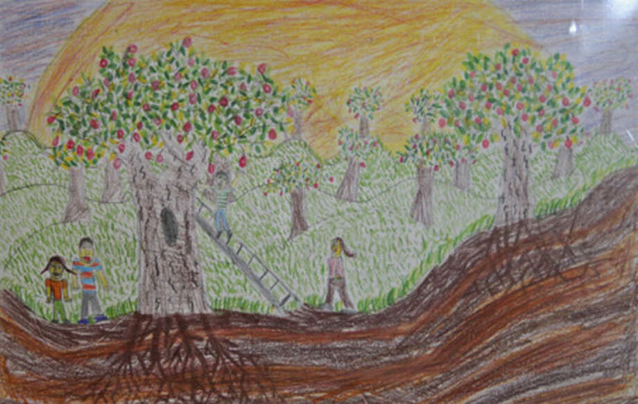 """Contributed photo""""Apple Picking with My Family"""" by Max English, 12, of Middlebrook School in Wilton is one of 141 works displayed in the 18th International Children's Art Show, themed """"Food for Thought,"""" open now through Sept. 1 in The Maritime Aquarium at Norwalk's IMAX Theater lobby."""