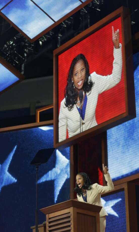 Mayor of Saratoga Springs, Utah, Mia Love addresses the Republican National Convention in Tampa, Fla., on Tuesday, Aug. 28, 2012. (AP Photo/Charles Dharapak)