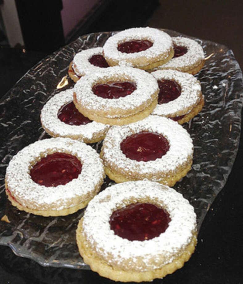 Hour photo/Chris BosakLinzer cookies at Sweet Sabrina's Cake Shop on Main Street in Norwalk.