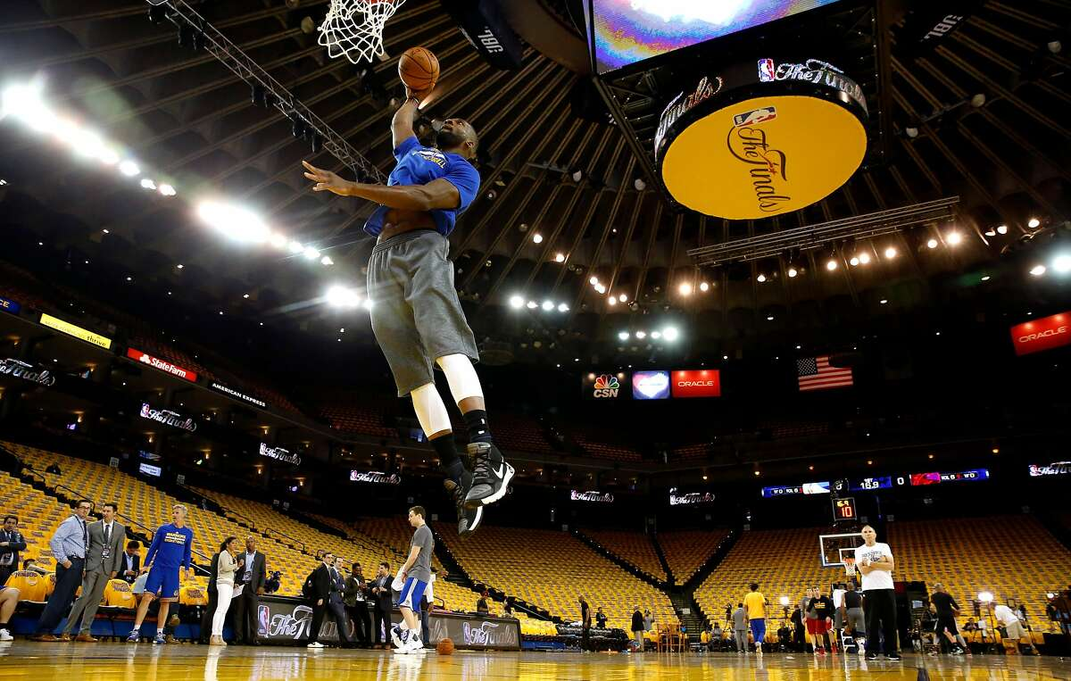 Warriors' Festus Ezeli during warm ups as the Golden State Warriors prepare to take on the Cleveland Cavaliers in Game 5 of the NBA Championship at Oracle Arena in Oakland, California on Mon. June 13, 2016.