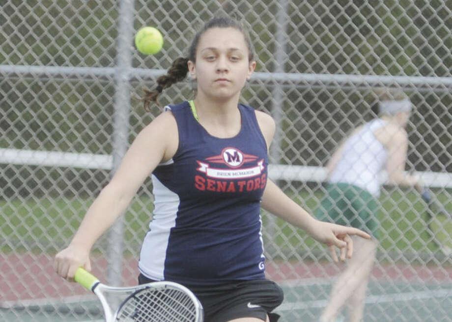 Hour photo/Matthew VinciMcMahon junior Hanna Hendricks won her match 6-2, 6-0 Tuesday.