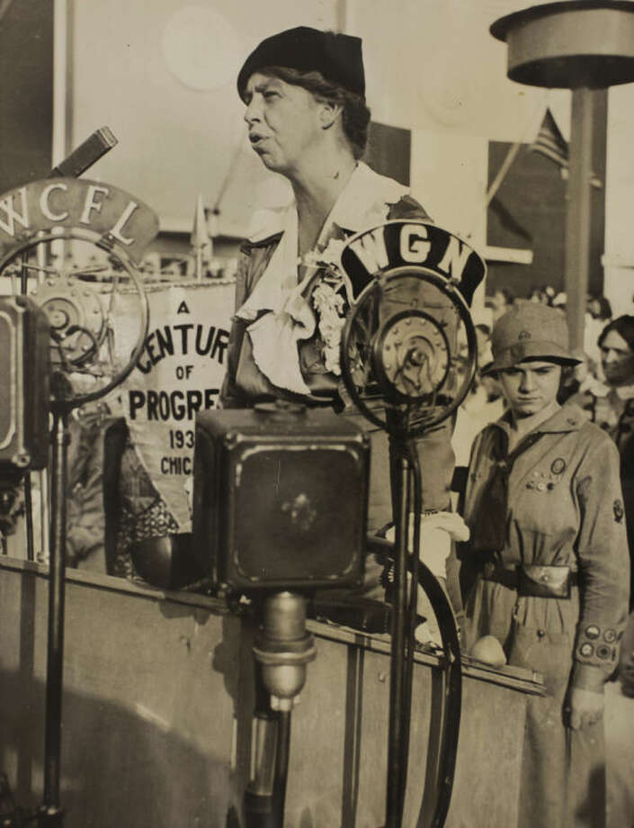 "In this Nov. 1, 1933 photo, Eleanor Roosevelt speaks during Women's Day at the World's Fair in Chicago. PBS announced Thursday, May 8, 2014, its fall season will open with the seven-part Ken Burns' documentary, ""The Roosevelts: An Intimate History."" (AP Photo/PBS, Franklin D. Roosevelt Presidential Library, Hyde Park, NY)"