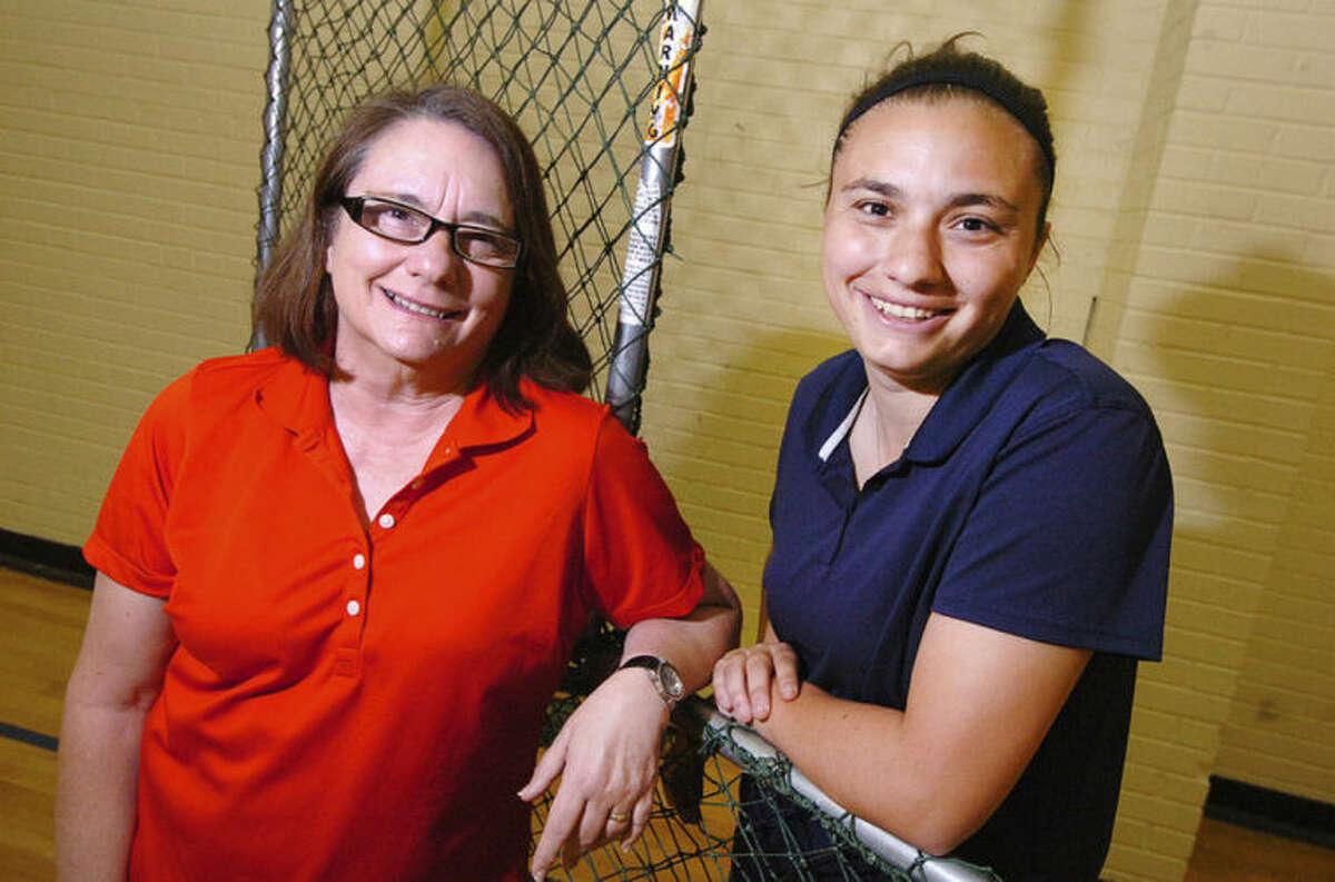 Hour File Photo/Alex von Kleydorff McMahon softball coach Dani Brown, right, with her mother Denise Brown in 2011.