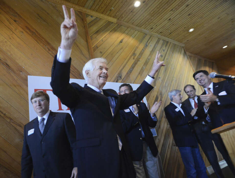 U.S. Sen. Thad Cochran, R-Mississippi, waves to supporters at the conclusion of his speech at a pre-election day rally at the Mississippi Agriculture and Forestry Museum in Jackson, Miss., on Monday, June 2, 2014. Sen. Cochran's contentious race against state Sen. Chris McDaniel, R-Ellisville, will be decided Tuesday as voters will head to the polls to cast their ballots in the state's Republican primary. (AP Photo/The Clarion-Ledger, Joe Ellis)