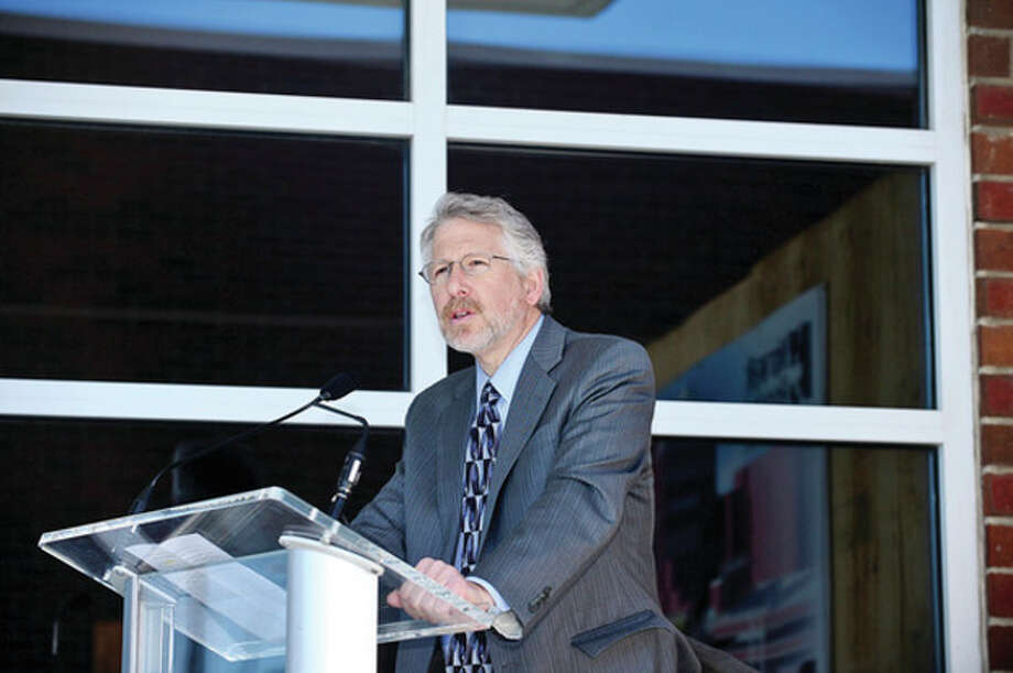 Howard Eison, MD chair of the Norwalk Hopsital Foundation speaks as Norwalk Hospital holds a groundbreaking ceremony for new ambulatory care pavilion Friday.Hour photo / Erik Trautmann / (C)2013, The Hour Newspapers, all rights reserved