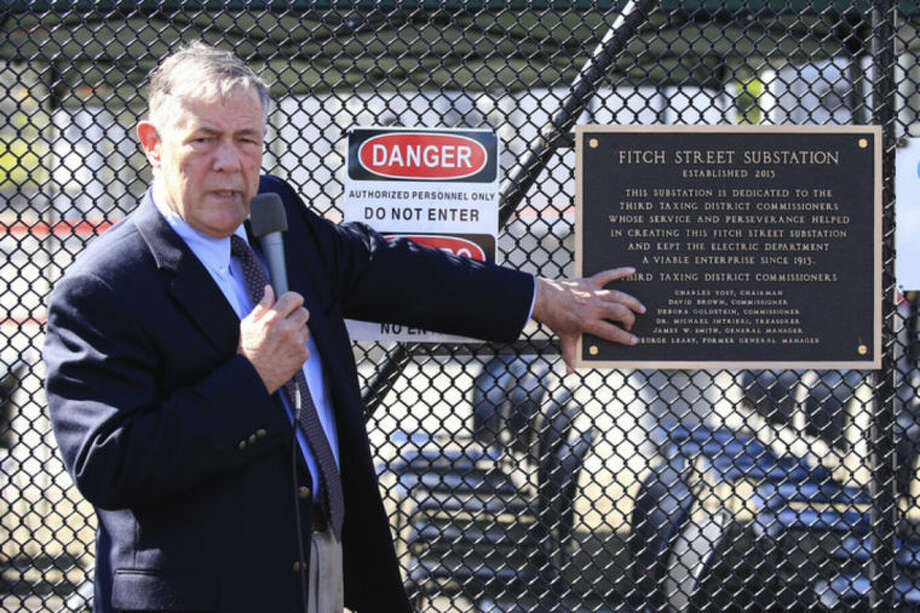 Hour Photo / Chris Palermo. during the Third Taxing District's Fitch Street substation dedication Friday morning.