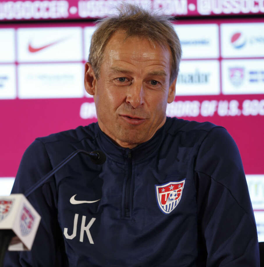United States' head coach Jurgen Klinsmann talks during a press conference following a training session in Sao Paulo, Brazil, Tuesday, June 17, 2014. The United States will play against Portugal in group G of the 2014 soccer World Cup on June 22. (AP Photo/Julio Cortez)