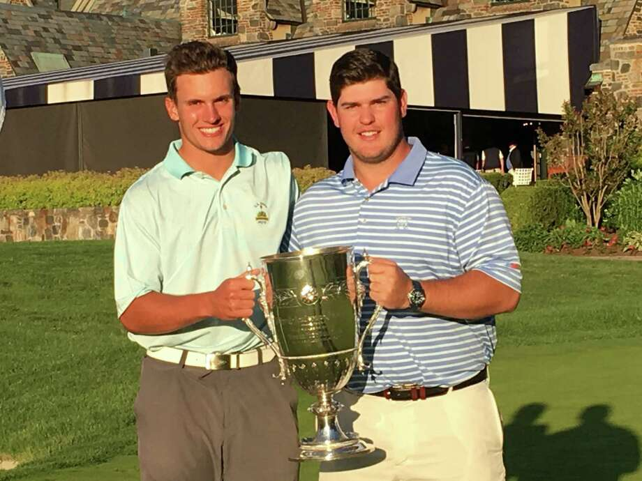 Scarsdale, N.Y., native and Yale University student James Nicholas, left, and Greenwich resident/Brunswick School graduate Chris Troy won the 80th Anderson Memorial Four-Ball Invitational at Winged Foot Club on Sunday. Troy plays on the golf team at Cornell. Photo: Contributed Photo / Contributed photo