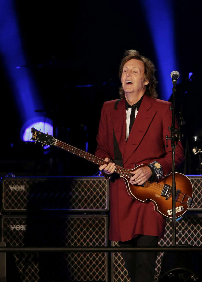 Paul McCartney performs on Thursday, Aug. 14, 2014, at Candlestick Park in San Francisco. San Francisco is saying goodbye to the stadium where its beloved Giants and 49ers celebrated some of their greatest triumphs. (AP Photo/Marcio Jose Sanchez)