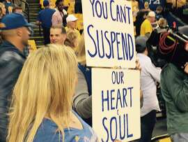 Warriors fans protest the suspension of Draymond Green prior to Game 5 of the NBA Finals at Oracle Arena.