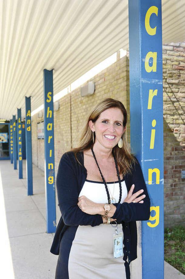New Naramke Elementary School principal Patti Mattera on the first day of school.