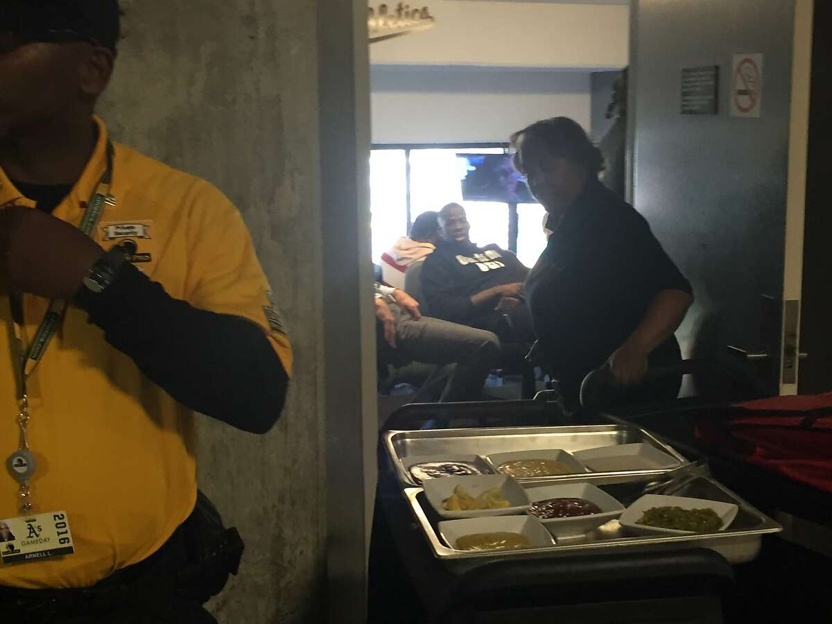 Food is delivered to suspended Warriors forward Draymond Green, who was forced to watch Game 5 of the NBA Finals from a suite at the Oakland Coliseum.