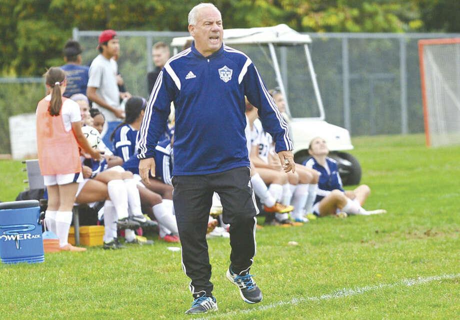 Hour photo/Erik TrautmannFormer Norwalk High School Athletic director Wayne Mones is head coach of the Notre Dame-Fairfield this fall.