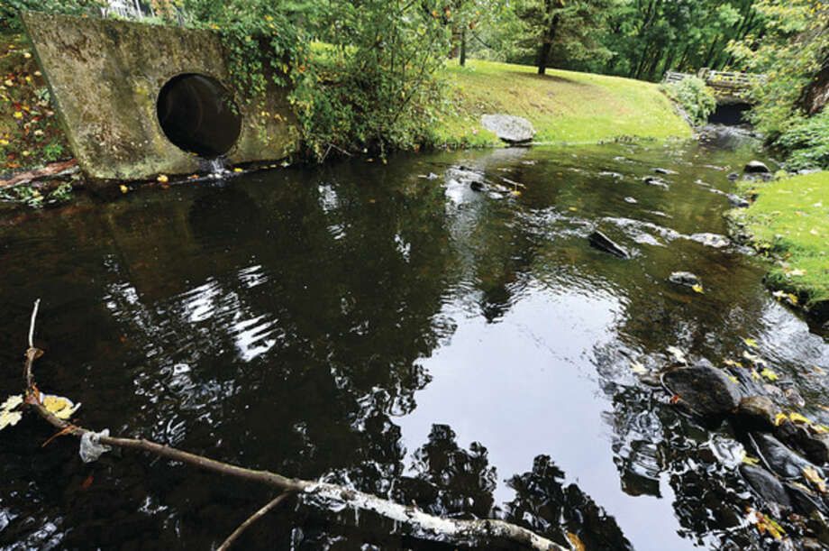 City officials indicated run off from flooding collects in Brett's Brook whcih flows under Cannon St. Flooding in neighborhoods north of Newtown turnpike in the Assisi Way neighborhood in Norwalk has troubled neighbors and vexed city officials.Hour photo / Erik Trautmann