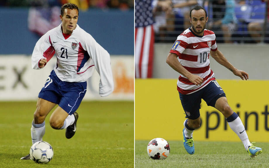 FILE - At left, in an April 3, 2002, file photo, Landon Donovan of the United States dribbles the ball during the second half of a friendly match against Mexico in Denver. At right, in a July 21, 2013, file photo, Landon Donovan of the United States dribbles the ball during the first half in the quarterfinals of the CONCACAF Gold Cup soccer tournament against El Salvador in Baltimore. In a matchup of teams from this year's World Cup, the U.S. plays Ecuador, Friday, Oct. 10, 2014, in an exhibition that marks Landon Donovan's finale with the American national team. (AP Photo/File)