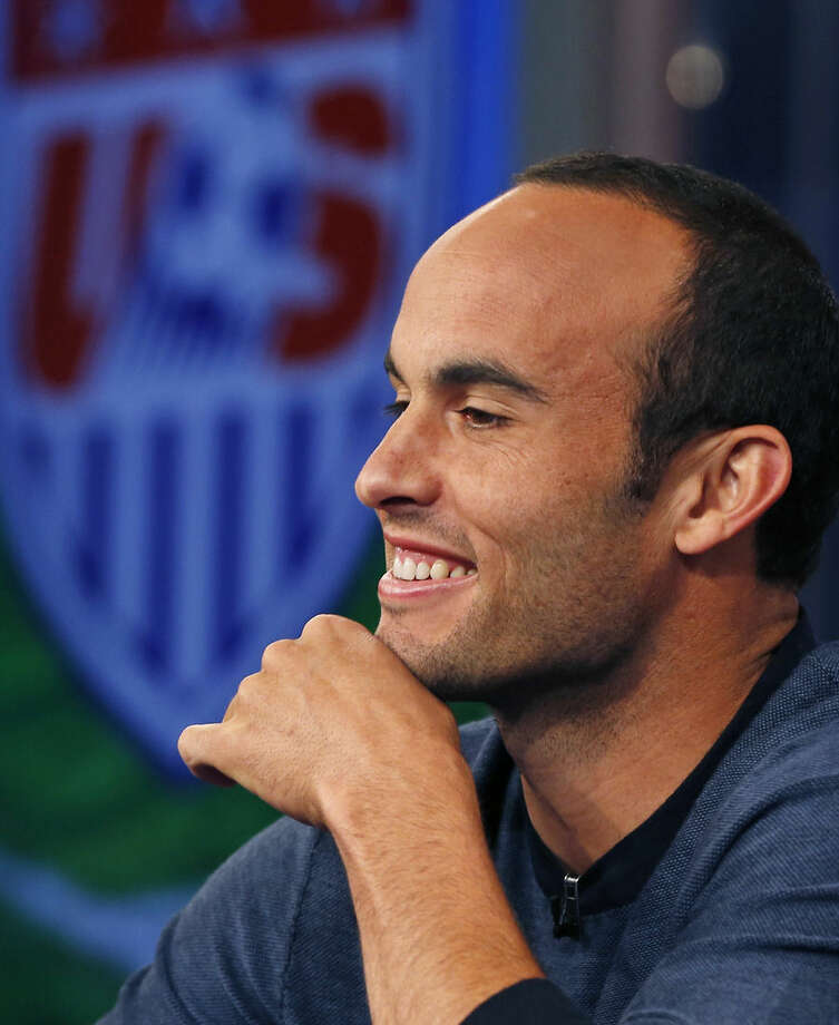 United States' Landon Donovan speaks about his retirement from soccer during a press conference in Bristol, Conn. Friday, Oct. 10, 2014. Donovan makes his last international appearance Friday night in an soccer exhibition against Ecuador. (AP Photo/Elise Amendola)