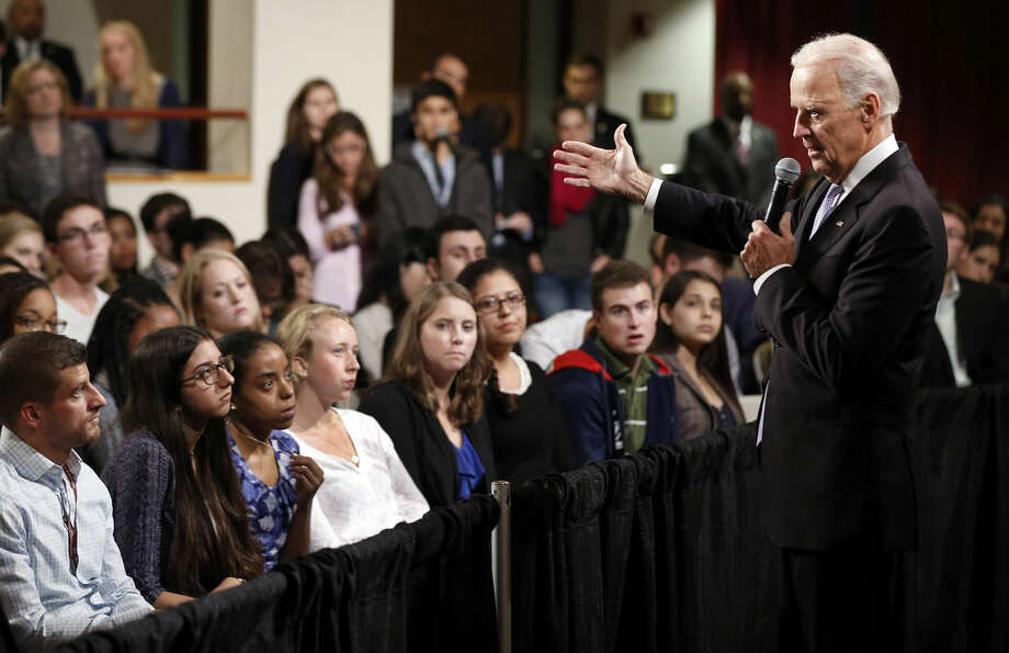 FILE - In this Oct. 2, 2014, file photo, Vice President Joe Biden answers questions from students at Harvard University's Kennedy School of Government in Cambridge, Mass. Biden's biggest mistake in accusing U.S. allies of supporting extremists in Syria may be that he said publicly what Obama administration officials have long preferred to say only privately. Biden apologized over the weekend to Turkey and the United Arab Emirates after saying they had a role in allowing foreign fighters, weapons and money into Syria to bolster groups fighting Syrian President Bashar Assad. He also made similar statements about Saudi Arabia's role in aiding extremists. (AP Photo/Winslow Townson, File)