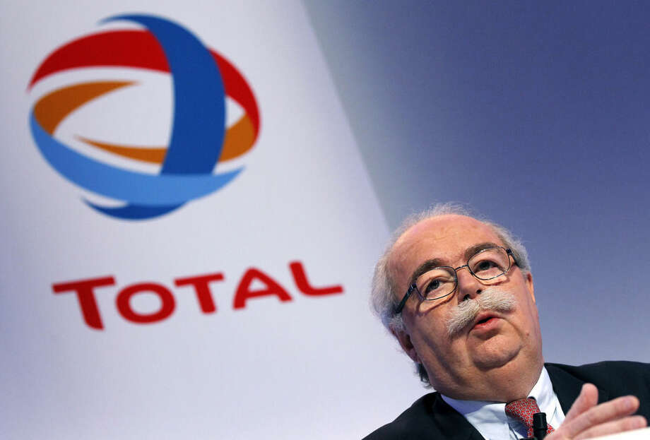 "FILE - This Friday, Feb. 11, 2011, file photo shows French energy giant Total CEO, Christophe de Margerie addressing reporters during a press conference in Paris, France. The CEO of French oil giant Total SA was killed when his corporate jet collided with a snow removal machine Monday night at Moscow's Vnukovo Airport, the company said. Total ""confirms with deep regret and sadness"" that Chairman and CEO Christophe de Margerie died in a private plane crash at the Moscow airport, the company said in a press release dated Tuesday and posted on its website. (AP Photo/Christophe Ena, File)"