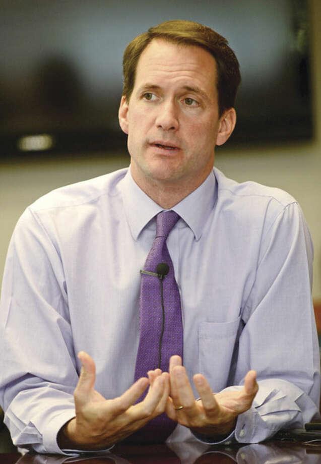 Hour photo / Erik Trautmann US Congressman Jim Himes talk to The Hour Editorial Board Tuesday October 7th.