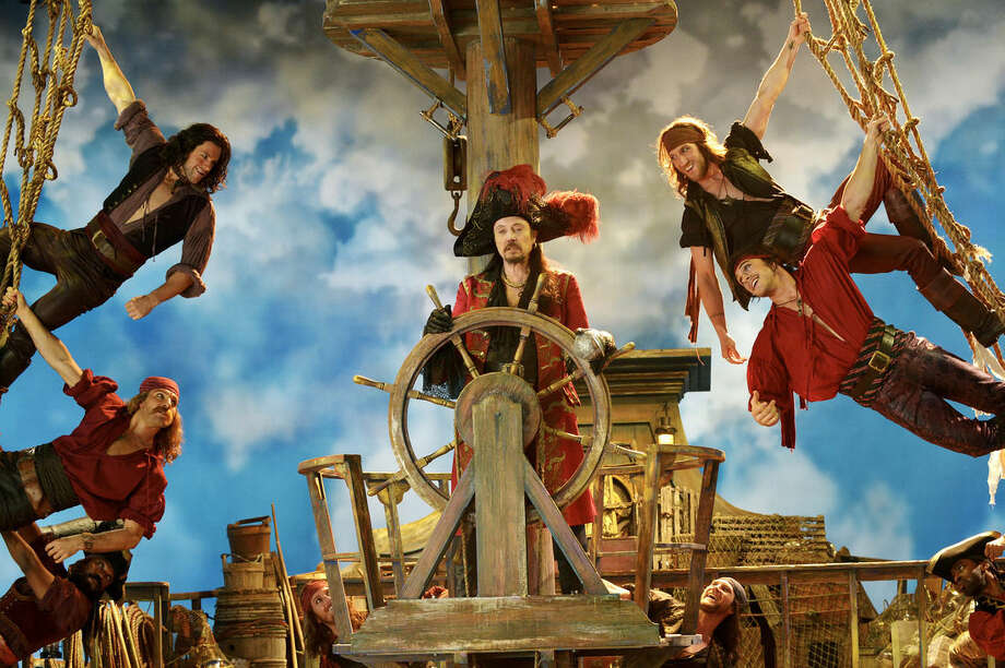 "This Nov. 8, 2014 image provided by NBC shows Christopher Walken as Captain Hook, center, from the musical version, ""Peter Pan Live!"" airing Thursday, Dec. 4, at 8 p.m., EST. (AP Photo/NBC, Virginia Sherwood)"