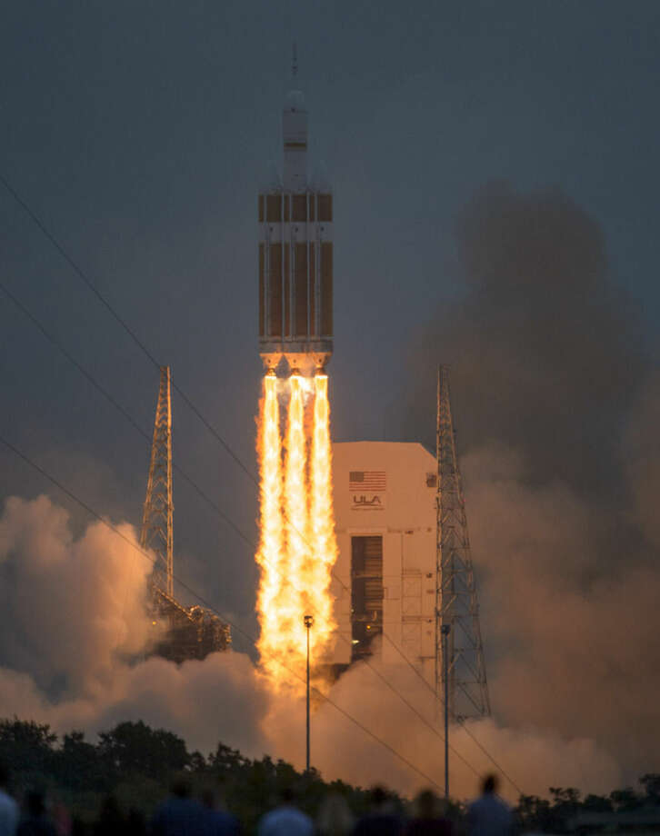 NASA's Orion spacecraft, atop a United Launch Alliance Delta 4-Heavy rocket, lifts off on its first unmanned orbital test flight from the Cape Canaveral Air Force Station Friday, Dec. 5, 2014, in Cape Canaveral, Fla. (NASA/Bill Ingalls)