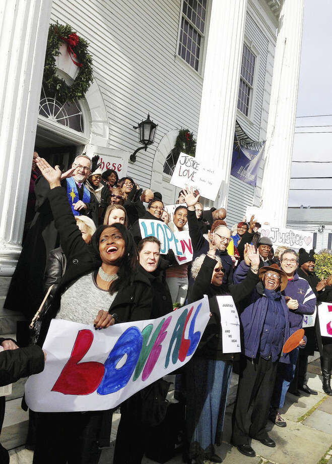 Contributed photo Parishoners at the First Congregational Church of Norwalk came together Sunday to pray for peace in the community as well as the eradication of racism and discrimination.