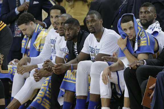 The Golden State Warriors' bench watches the fourth quarter during Game 5 of the NBA Finals at Oracle Arena on Monday, June 13, 2016 in Oakland, Calif. The Cleveland Cavaliers defeated the Golden State Warriors 112 to 97.