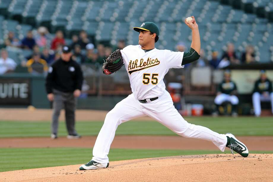 OAKLAND, CA - JUNE 13:  Sean Manaea #55 of the Oakland Athletics throws a pitch against the Texas Rangers in the first inning at O.co Coliseum on June 13, 2016 in Oakland, California.  (Photo by Robert Reiners/Getty Images) Photo: Robert Reiners, Getty Images