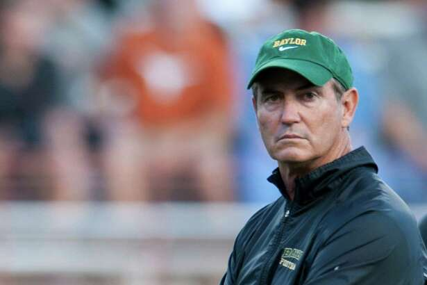 Head coach Art Briles of the Baylor University Bears looks on as his team warms up before the Big 12 Conference game against the Texas Longhorns on October 20, 2012 at Darrell K Royal-Texas Memorial Stadium in Austin, Texas. (Photo by Cooper Neill/Getty Images)