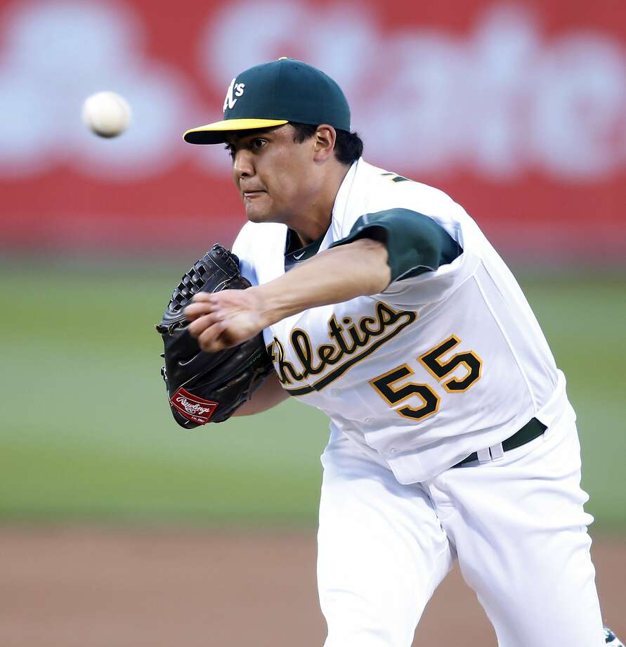 Oakland Athletics starting pitcher Sean Manaea delivers against the Texas Rangers during the first inning of a baseball game Monday, June 13, 2016, in Oakland, Calif. (AP Photo/D. Ross Cameron) Photo: D. ROSS CAMERON, Associated Press