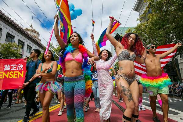 Parade goers march energetically during 45th Annual San Francisco Pride Celebration & Parade on Sunday, June 28, 2015, two days after the Supreme Court ruled that same-sex couples have a constitutional right to marriage that can't be denied by state law. (Marcus Yam/Los Angeles Times/TNS)