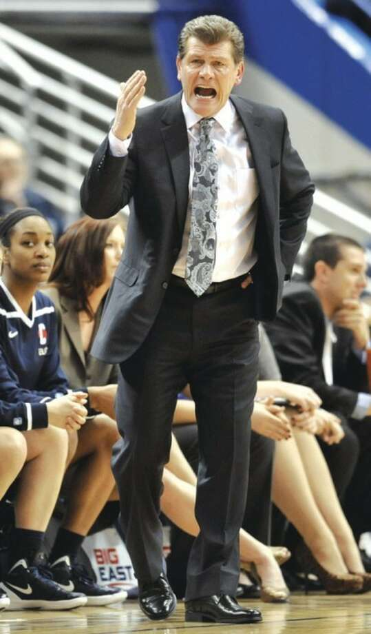 AP photo UConn coach Geno Auriemma shouts instructions to his players during the Big East tournament victory over Notre Dame. Auriemma and the Huskies begin their quest for their eighth NCAA title Saturday in Bridgeport.
