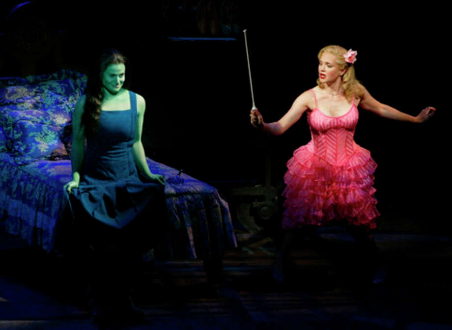 "AP Photo /Joan Marcus, FileIn this undated photo released by the producers of ""Wicked,"" Idina Menzel, left, is joined by Jennifer Laura Thompson, right, in the $14 million""Wizard of Oz""prequel. The Broadway League reported Wednesday, Jan. 2, 2013, that the 10-year-old ""Wicked"" took in a whopping $2,947,172 over nine performances last week, which is the highest single-week gross of any show in Broadway history. / Courtesy Producers"