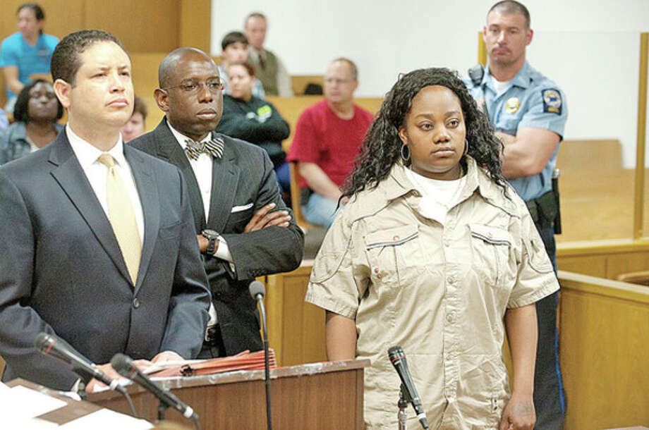 Tanya McDowell is arraigned in Norwalk Superior Court on larceny charges in Norwalk, Conn. on Wednesday April 27, 2011. McDowell allegedly used a false Norwalk address to enroll her son in Brookside Elementary School.pool photo / The Advocate / Stamford Advocate