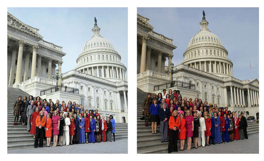 This combo of two photos shows, at left, an Associated Press photo taken Jan. 3, 2013 of House Minority Leader Nancy Pelosi posing with female House members on Capitol Hill in Washington, and at right, a screen grab from Pelosi's Flickr page of an altered photo of Pelosi with female House members on Capitol Hill in Washington, Thursday, Jan. 3, 2013. Pelosi is defending the altered picture that was posted on her Flickr social media site. The group photo shows four House members, in the back row, who arrived too late to pose on the Capitol steps. A computer program was used to add them to the image later posted on Flickr. (AP Photo) / File / HOPD