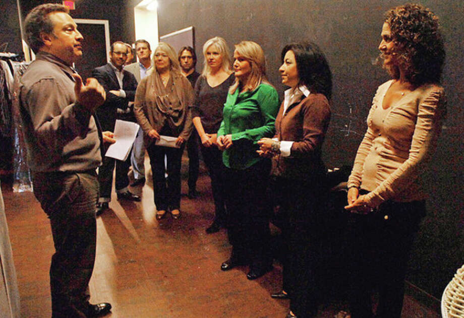 """Photo by Erik TrautmannLou Ursone, executive director of Curtain Call, talks to this year's """"Dancing With The Stars"""" contestants as they prepare for the May 19 fundraiser. / (C)2011, The Hour Newspapers, all rights reserved"""