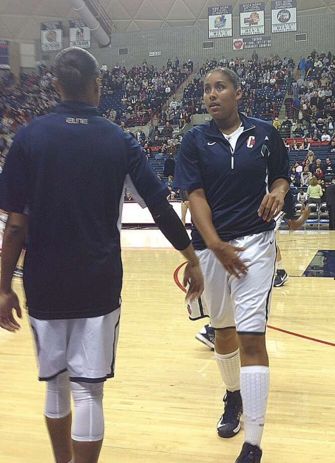 A courtside view as UConn, including sophomore Kaleena Mosqueda-Lewis go through pre-game warm-ups for Saturday's showdown with Notre Dame at Gampel Pavilion.